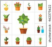 potted flowers icon set | Shutterstock .eps vector #462375622