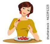 girl eats strawberries.... | Shutterstock .eps vector #462391225