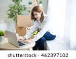 smiling young woman use... | Shutterstock . vector #462397102