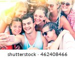 cheerful group of friends... | Shutterstock . vector #462408466