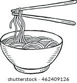 doodle noodle at bowl and stick.... | Shutterstock .eps vector #462409126