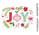 christmas wreath with joy... | Shutterstock .eps vector #462484078