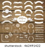 set of hand drawn white doodle... | Shutterstock .eps vector #462491422