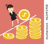 businesswoman coin rolls up.... | Shutterstock .eps vector #462491908