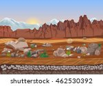 Cartoon Dry Stone Desert...