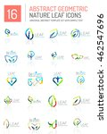 geometric leaf icon set. thin... | Shutterstock . vector #462547696