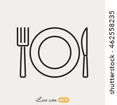 line icon  plate  knife and fork | Shutterstock .eps vector #462558235