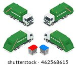 garbage recycling set of trucks ... | Shutterstock . vector #462568615