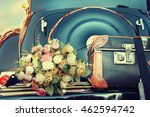 wedding bouquet on vintage... | Shutterstock . vector #462594742