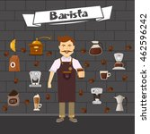 barista and coffee composition... | Shutterstock .eps vector #462596242