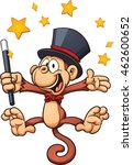 cartoon magician monkey. vector ... | Shutterstock .eps vector #462600652