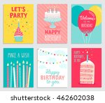 Birthday Card Set. Vector...