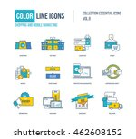 color thin line icons set.... | Shutterstock .eps vector #462608152