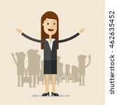 woman in suit opens his arms.... | Shutterstock .eps vector #462635452