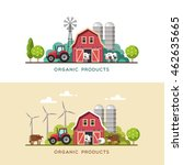farming background with barn ...   Shutterstock .eps vector #462635665