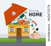 moving home. family moving out... | Shutterstock .eps vector #462673276