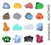 collection set of semi precious ... | Shutterstock .eps vector #462673405