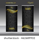 gold and black roll up banner... | Shutterstock .eps vector #462689932