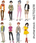 group of cartoon young people.... | Shutterstock .eps vector #462702658