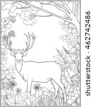 Coloring Page With Deer In...