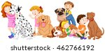 children with pet dogs... | Shutterstock .eps vector #462766192