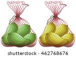 fresh mangoes in net bags... | Shutterstock .eps vector #462768676