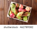 Pears And Apples In Wooden Box...