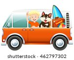 boy and dog on camper van... | Shutterstock .eps vector #462797302