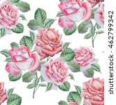 seamless pattern with roses....   Shutterstock . vector #462799342