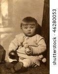 Vintage (1926) baby's photo - stock photo