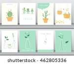 set of cute grow plants poster... | Shutterstock .eps vector #462805336