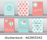set of baby shower invitation... | Shutterstock .eps vector #462805342