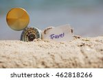 compass in the sand with... | Shutterstock . vector #462818266