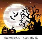 halloween tree silhouette theme ... | Shutterstock .eps vector #462848746