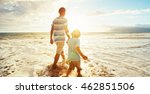 father and son walking on the... | Shutterstock . vector #462851506
