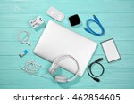 laptop with accessories. energy ... | Shutterstock . vector #462854605