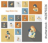 happy mothers day simple flat... | Shutterstock .eps vector #462870226