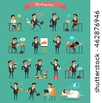 working day concept set. vector ... | Shutterstock .eps vector #462876946