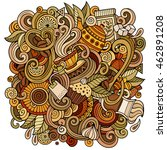 cartoon hand drawn doodles cafe ... | Shutterstock .eps vector #462891208
