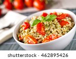 barley with pesto sauce and... | Shutterstock . vector #462895426