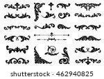 Ornate scroll and decorative design elements. Vintage Vignette Borders Set. Calligraphic Vector illustration isolated.