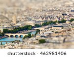 Small photo of Scenic view from the top of the Eiffel Tower. Paris, France. Miniature tilt shift lens effect.
