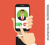 incoming call on smartphone... | Shutterstock .eps vector #463006006
