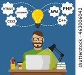 programmer sitting at the... | Shutterstock .eps vector #463006042
