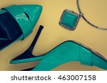turquoise shoes pumps and... | Shutterstock . vector #463007158