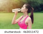young woman drinking water... | Shutterstock . vector #463011472
