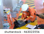 electrical engineers monitor... | Shutterstock . vector #463023556