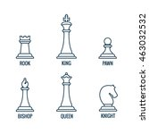 chess pieces vector thin line... | Shutterstock .eps vector #463032532