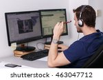 man in headphones analyzes the... | Shutterstock . vector #463047712