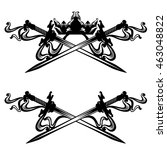 crossed swords and royal crown  ... | Shutterstock .eps vector #463048822